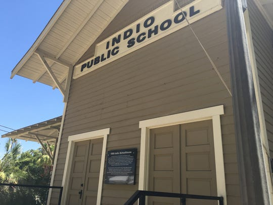 """The Indio Public Schoolhouse built in 1909 has been declared an """"outstanding"""" early example of the 'desert craftsman' style of architecture."""
