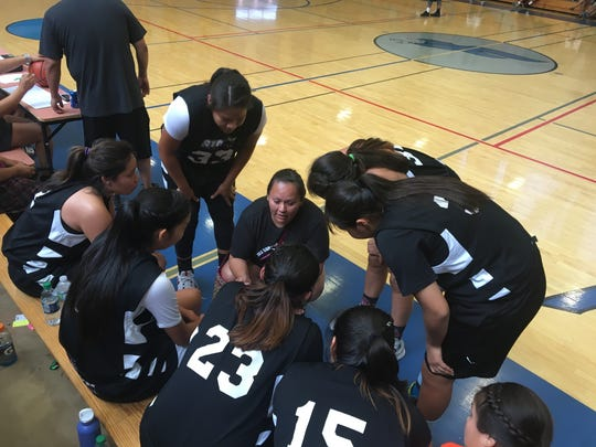 The Storm huddle during their championship game in