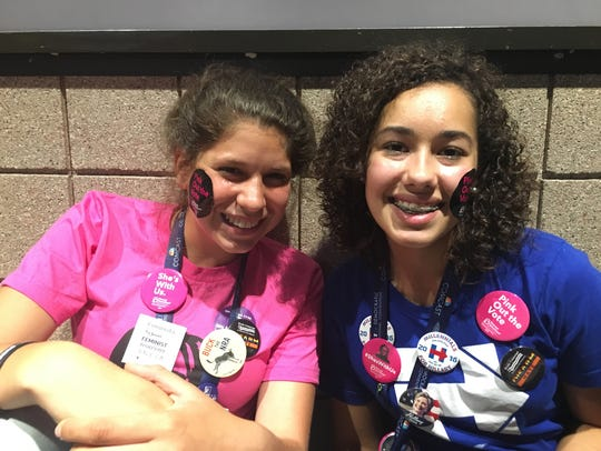 Victoria Sanchez, 16, of Nashua, N.H. and Lily Glaser,