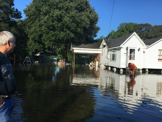 Flooding in Crowley on Monday, Aug. 15, 2016.