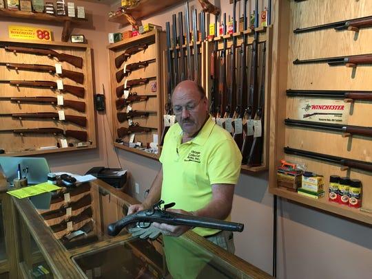 Gun dealer Ken Lehman, photographed in his Chambersburg