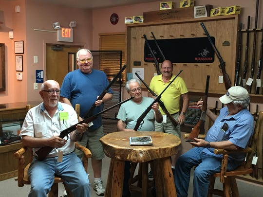 Firearms enthusiasts, left to right, Wayne Hamil, Bill Seiler, John Lynch, Ken Lehman and Eugene Eberly all attended the Izaak Walton League event last year and said they plan to attend again this year.