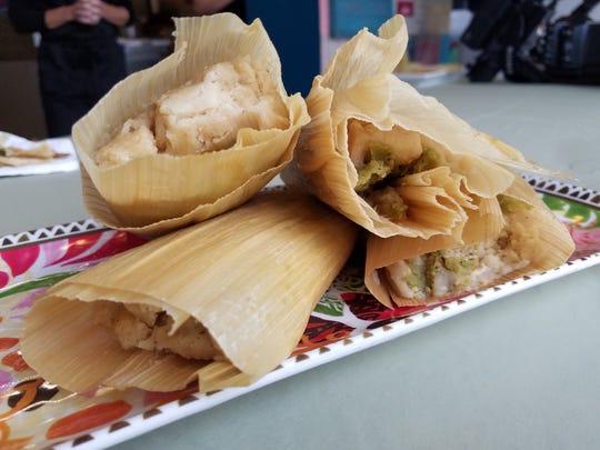 Chicken and green chili tamales at at La Mexi-Gringa in Irvington.