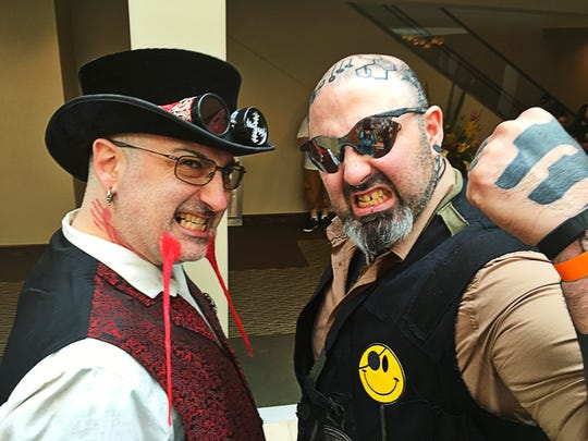 Tattoo expo The Synystr Mr. Syxx and The Diabolical Dr. SeVen (The Inkllusionists) brought their sideshow to the River City Tattoo Expo at Tropicana's Events Center, and threw knives at our very own Gretchin Irons. It's OK; she's fine.