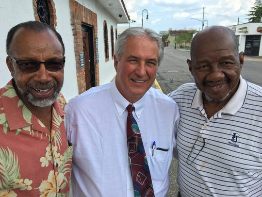 From left, Leon Tupper, 66; James Chylinski, 67; and