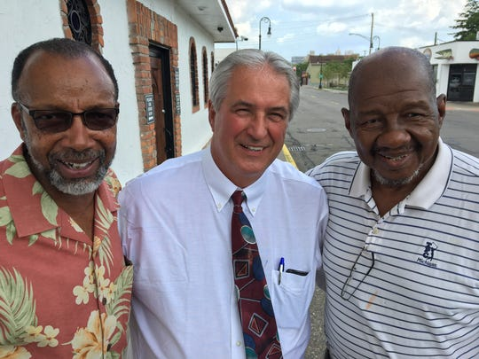 From left, Leon Tupper, 66; James Chylinski, 67; and Dr. Bernard Johnson, 69, worked together as tour guides at Stroh Brewery Co. in downtown Detroit in the early 1970s.