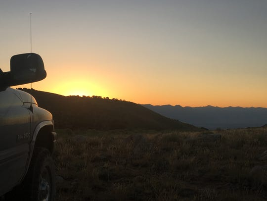 Sunset over the Toiyabe range as seen from Mt. Jefferson