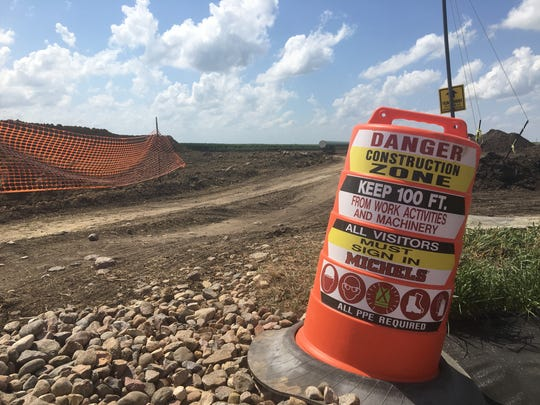 A sign borders the construction site for the Dakota Access pipeline on Francis Goebel's farm in Granville, Ia.