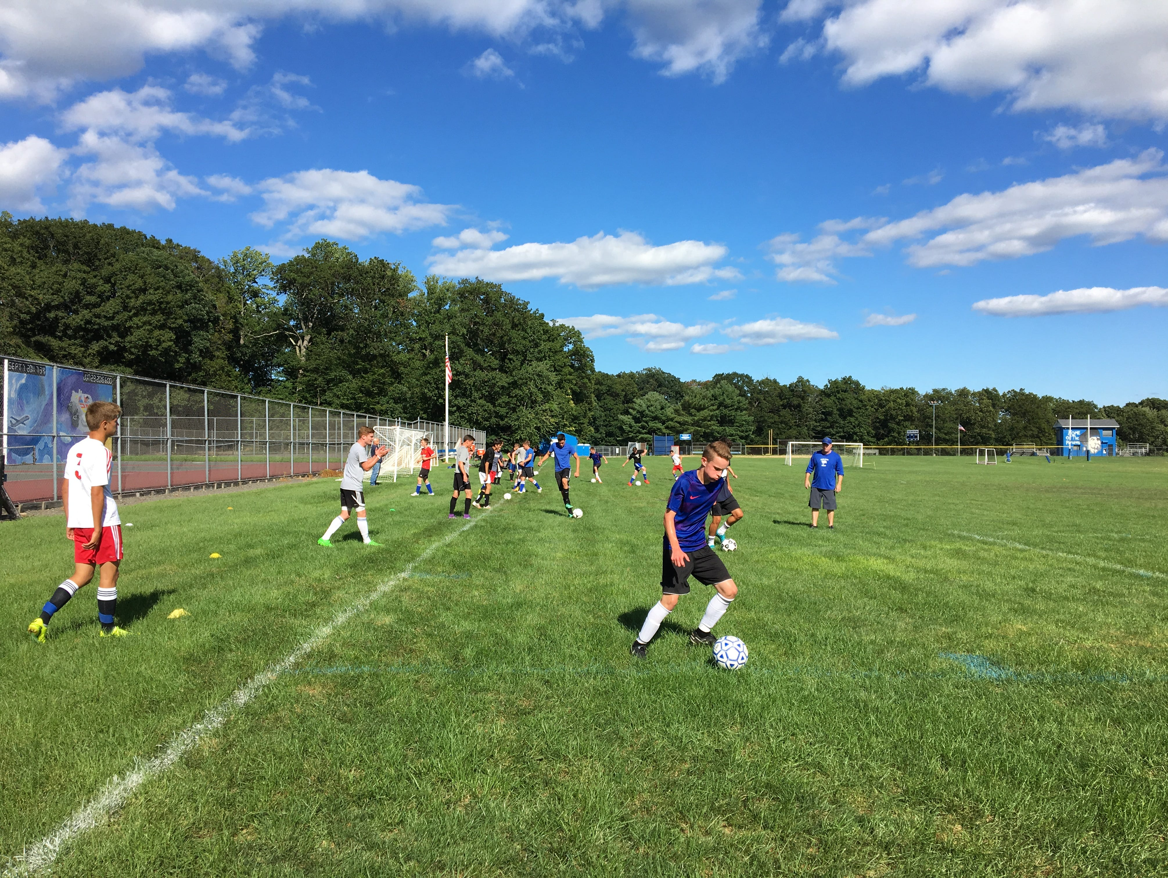 The Pearl River boys soccer team practices on Monday, Aug. 22, 2016.