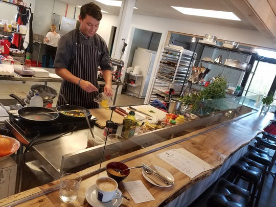 Sip cappuccino at the bar while you watch chef  Ben Hardy make omelets to order for Sunday brunch at The Gallery Pastry Shop, 1101 E. 54th St. in Indianapolis.