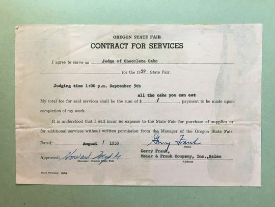 """The Oregon State Fair's """"Contract for Services"""" for"""