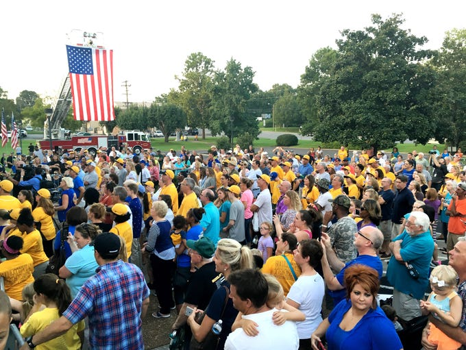 A crowd greets the Little League team at Goodlettsville