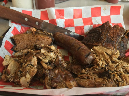 The five-meat sampler at Brian's Smokehouse and BBQ in Manitowoc.
