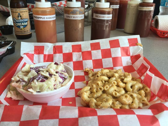 Coleslaw and mac n cheese at Brian's Smokehouse and