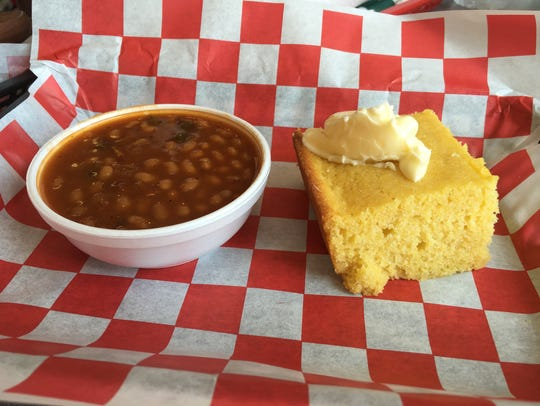 Baked beans and cornbread at Brian's Smokehouse and
