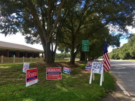 Campaign signs are grouped around Santa Rosa precinct 2.