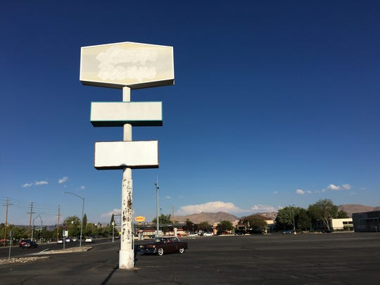 The left over sign in front of the shopping center on Plumb and Kietzke lanes.