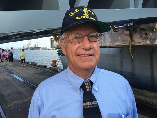 Retired Navy Master Chief Bob King visited the USS