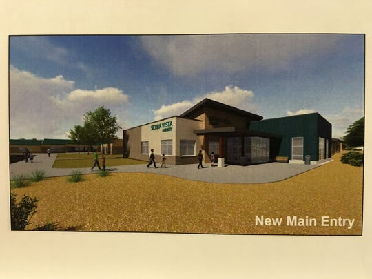 This artist rendering shows the planned new entrance, viewed from White Mountain Road, of Sierra Vista Primary school.