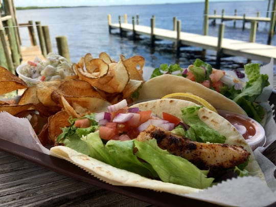 Blackened grouper tacos are a Hot Dish at Bert's Bar & Grill on Matlacha.