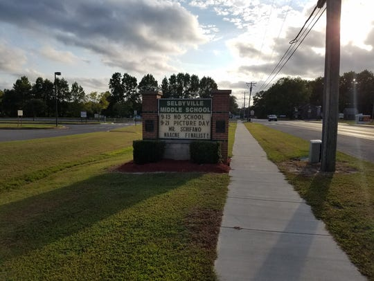 The sign outside Selbyville Middle School.