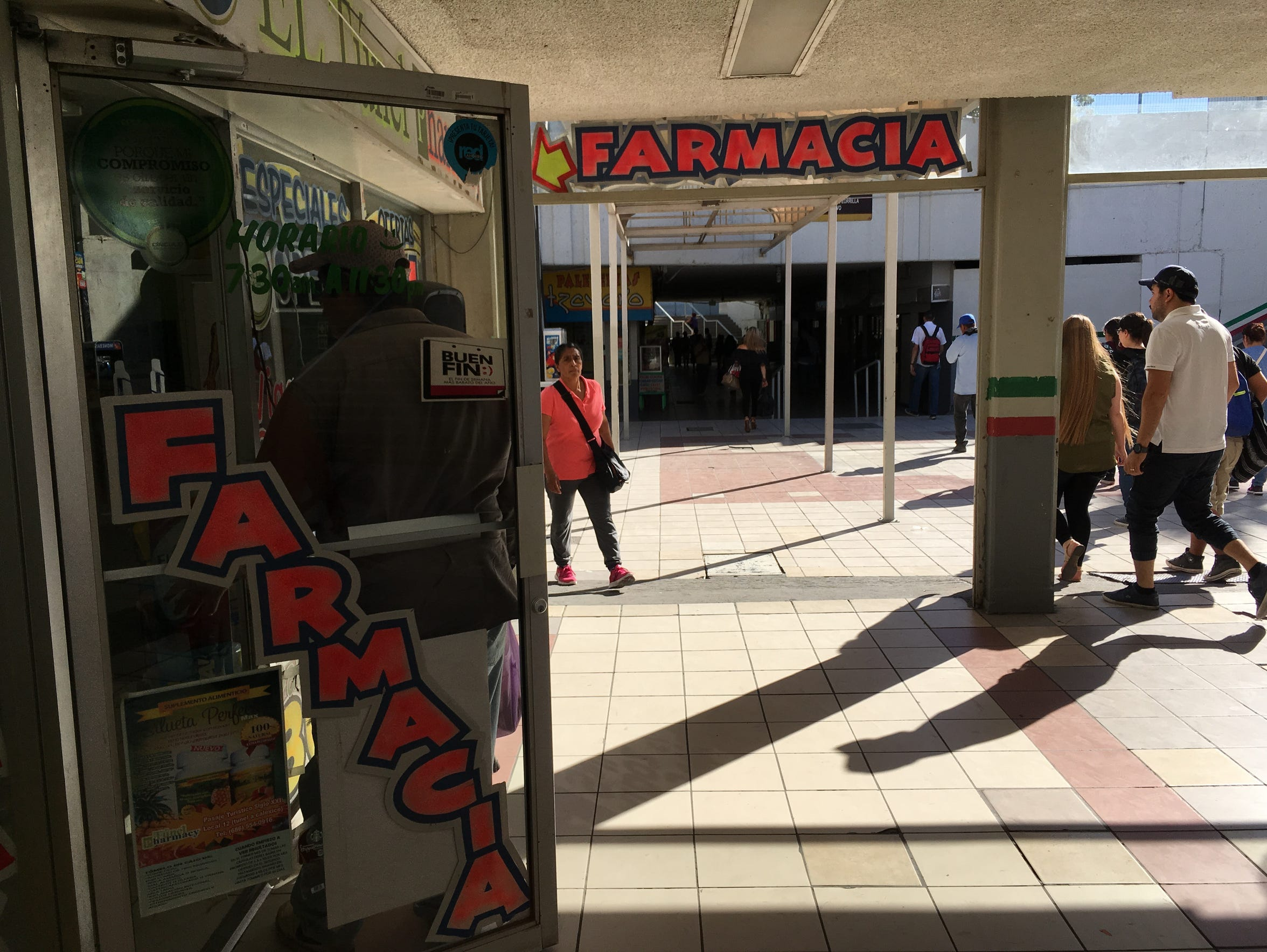 Pharmacies in Mexicali, Mexico are set up in the tunnel