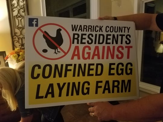 Signs residents line the roads   against the possible Prime Food confined egg laying farm.
