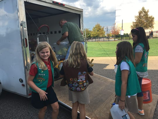 Girl Scout troops from throughout the River Region collected items recently for those rebuilding in Baton Rouge after the recent flooding. They collected donated items from the Montgomery Advertiser on Monday, Sept. 19, 2016.