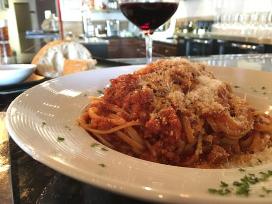 A lunch portion of spaghetti Bolognese, from Trattoria Mia in south Fort  Myers.