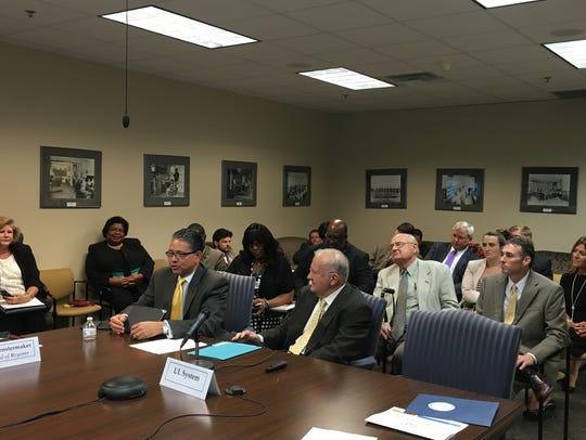 Grambling State President Rick Gallot (seated, left)