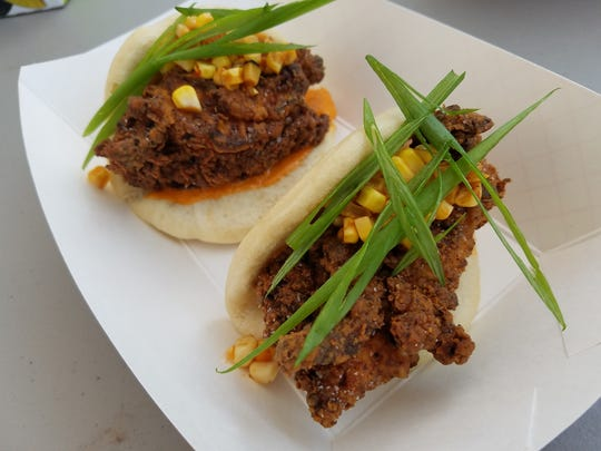 Three Floyds Brewing Co. pub chef Pat Niebling put malt liquor in a steam bun hugging fried chicken and corn kimchi during a Chefs Night Off Indy food truck pop-up Sept. 25, 2016, to announce the Indiana chefs invited to cook at  New York City's James Beard House in December 2016.