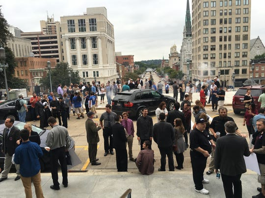 Vapers gather outside the Capitol Rotunda in Harrisburg after the vape tax rally Sept. 26.