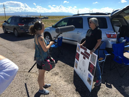 A documentary crew stopped to do interviews with pickets outside the entrance to the Trinity site during Saturday's open house.