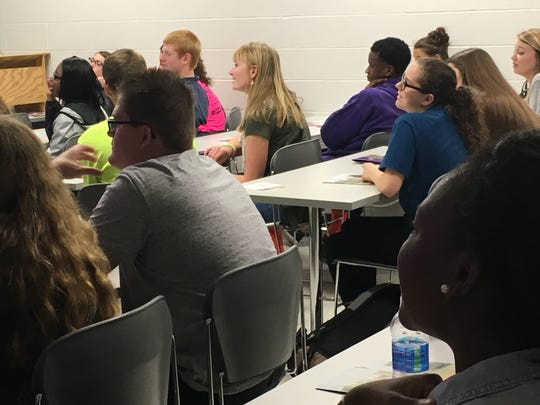 Local high school students enjoy Jeopardy as part of a game University of Evansville Assistant Spanish Professor Ann Baker created for the university's 12th Annual Linguapalooza. About 200 kids representing 14 local high school participated in the event to sharpen foreign language skills.