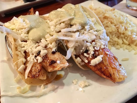 Fish tacos, from University Grill in south Fort Myers.