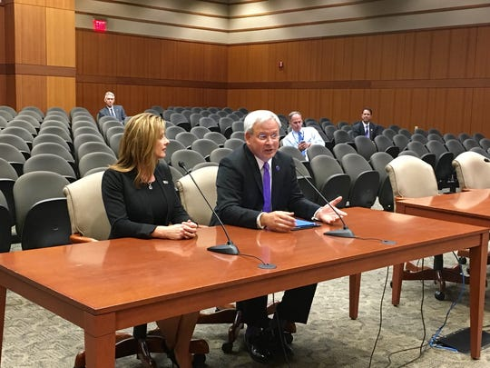 "James ""Jim"" Henderson (right) and wife Tonia address the University of Louisiana System Board of Supervisors in 2016. The board named Henderson president of the system effective Jan. 1."