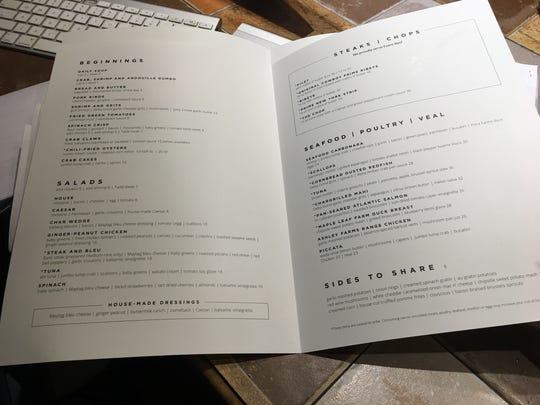 Dinner menu at Char.
