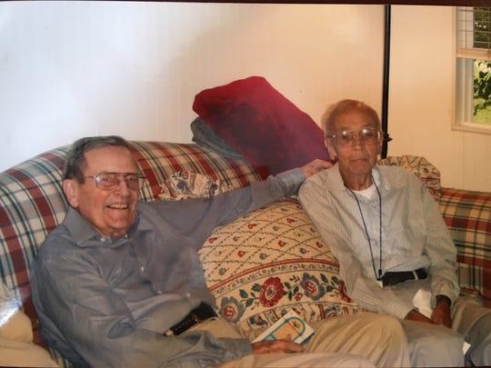 Burkley McCarthy, left, and David Latham, right, on Latham's 80th birthday.