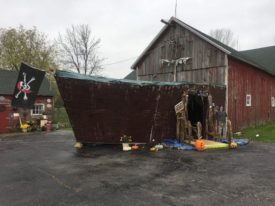 Linda Miller turned her barn into a pirate ship to celebrate Halloween.