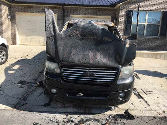 "A Ford F-150 was burned and the words ""Trump"" painted on it in two places Nov. 5, 2016."