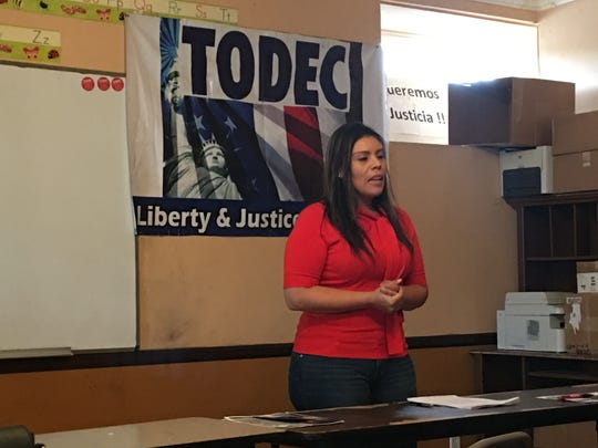 Luz Gallegos, community programs director for the Perris based TODEC Legal Center, hosts a know-your-rights workshop for immigrants in the Inland Empire.