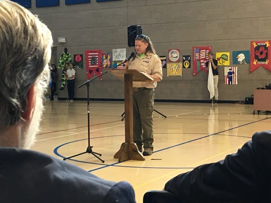 Scoutmaster Dana Lenzo was emcee Friday for Vets Day observances at Ruidoso Middle School.