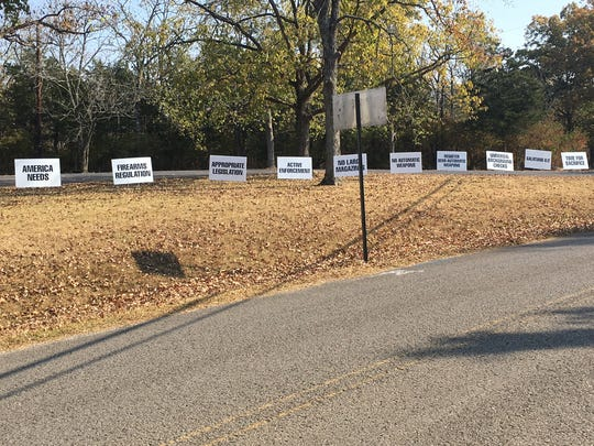 Someone keeps taking down Brookmeade Congregational  Church's pro-gun restriction signs. It's happened twice this week.