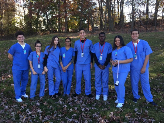 Starting their career paths early through the Academy of Medical Sciences are Zach Legreaux, Emily Lopez, Taylor Jack, Zarin Harun, Roberth Umana, Amonte Simmons, Kayla Millet and Robert Martinez.