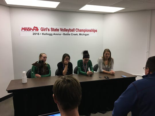 Brown City players Alexia Mason, Jasmin Bender and Becki Krause, along with coach Jenna Welke talk to the media after the finals loss.