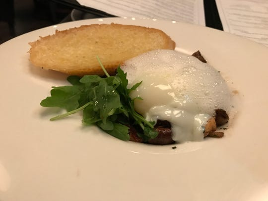 Hazel Dell mushrooms at Locality are served with Parmesan foam, a 63-degree egg and arugula.