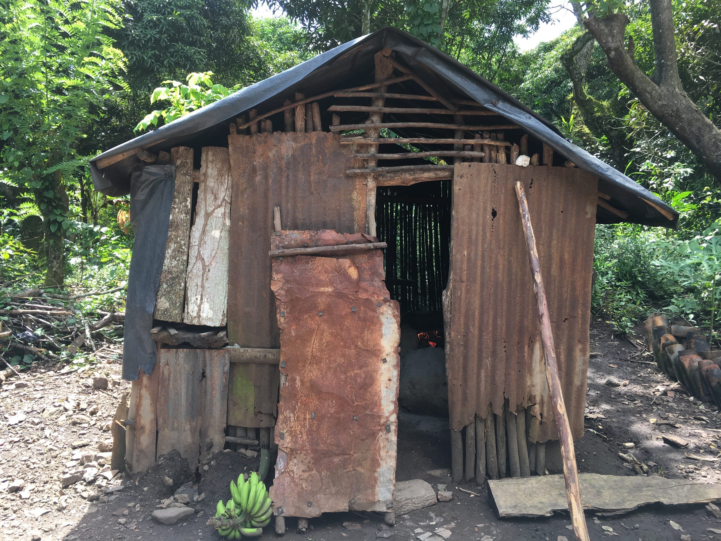 This simple shack, made of scrap tin, boards and sticks,