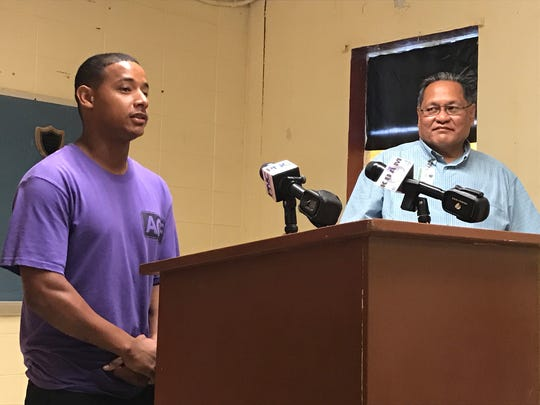 In this Nov. 29 file photo, Daniel Sanchez, a participant in the Guam Department of Corrections' vocational training program, speaks about his experience in inmate-led classes at a press conference.