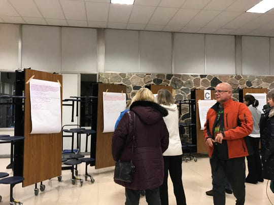 After the initial group discussion, participants could see other groups' responses on pieces of paper posted around the cafeteria.