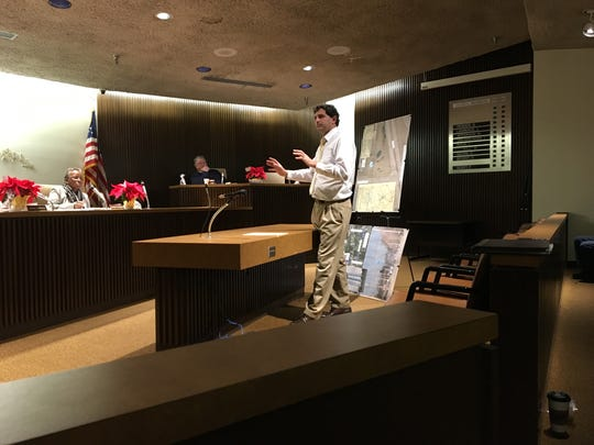 City Engineer Bob Bianchi discusses the possibility of removing the Shaker Water Tower in Ontario at Mansfield City Council on Tuesday. Bianchi emphasized there are no solid plans in place, and it will be months before a decision is made.